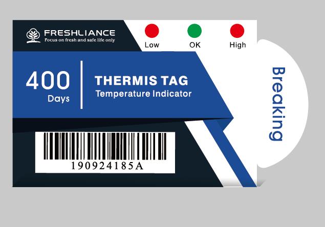 Термоиндикатор(логгер) +2 +8C Thermis Tag(Термис Таг) , одноразовый, моментальная индикация, 2 порога
